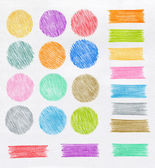 Set of color pencil design elements — Stock Photo
