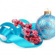 Christmas ball with ribbon — Stock Photo