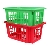 Empty red and green plastic basket — Stock Photo