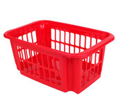 Empty red plastic basket — Stock Photo