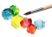 Brush and watercolor painting — Stock Photo