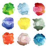Set of abstract color watercolor blot — 图库照片