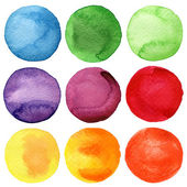 Watercolor hand painted circles collection — Stock Photo