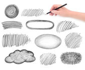 Hand and pencil scribbles design elements — Foto Stock