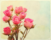 Roses bouquet. Vintage retro style. Paper textured. — Stock Photo