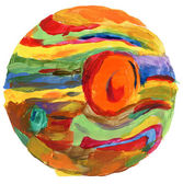 Abstract circle acrylic and watercolor painted background. — Stock Photo