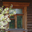 Window of the old traditional Russian house — Stock Photo