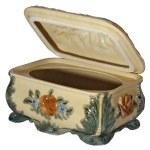 Open empty ceramic jewelry box, isolated — Stock Photo #25641567