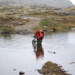 Stock Photo: Crossing river at ford with bicycle