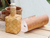 Bottle made of birch bark — Stock Photo