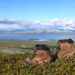 A pair of trekking boots on the edge, other mountains and lake i — Stock Photo