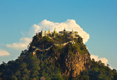 Temple on top of a mountain Popa in the clouds — Stock Photo