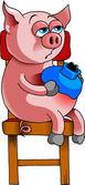 Cerdo enfermo — Vector de stock