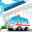 Ambulance at hospital — Stock Vector #13606368