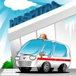 Ambulance at hospital - Stock Vector