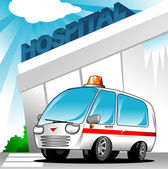 Ambulance at hospital — Stock Vector