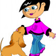 Girl and her dog - Image vectorielle