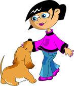 Garota e o cão — Vetor de Stock