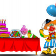 Royalty-Free Stock Vector Image: Clown at a birthday party