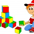 Stock Vector: Boy with blocks