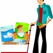 Stock Vector: Customer in a supermarket