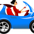 Stock Vector: Woman in car