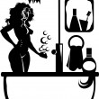 Silhouette in the bathroom — Stock Vector #23750337