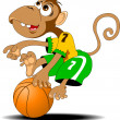 Monkey and basketball — Image vectorielle