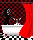 Girl in the bathroom — Stock Vector