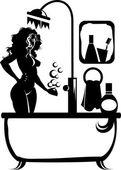 Silhouette in the bathroom — Vector de stock