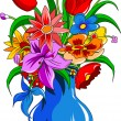 Color bouquet of flowers — Image vectorielle