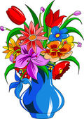 Color bouquet of flowers — Stock vektor