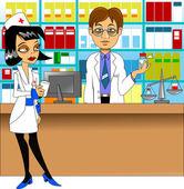 Pharmacist and nurse — Stock Vector