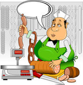Butcher at work — Stock Vector