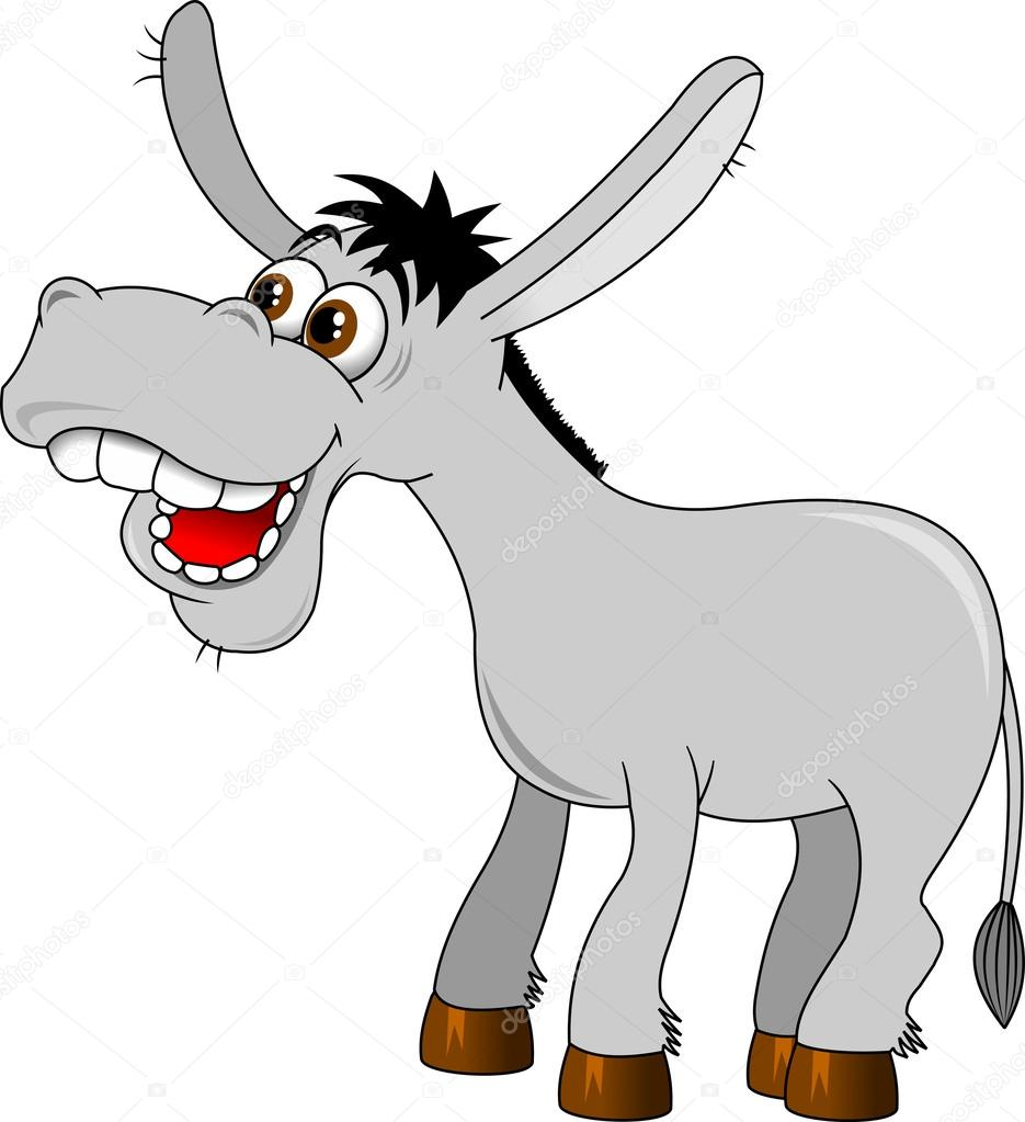 Jackass Donkey Clipart Cute grey cartoon donkey character vector by ...