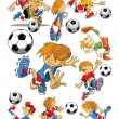 Soccer players cartoons — Stock Vector #48108189