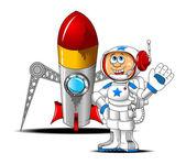 Astronaut and rocket — Stock Vector
