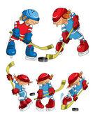 Hockey players cartoons — Stock Vector