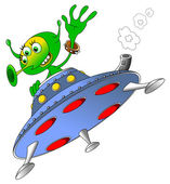 Green alien in spacecraft — Stock Vector