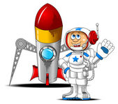 Astronaut and rocket — Vector de stock