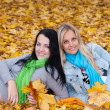 Royalty-Free Stock Photo: Two happy young women in autumn forest