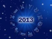 Astro 2013 , horoscope circle with zodiac signs — Stock Photo