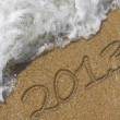 2013 written in the sand beach — Stock Photo