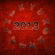 2013 Zodiac circle with zodiac signs on the red grunge background — Stock Photo #16962237
