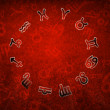 2013 Zodiac circle with zodiac signs on the red grunge backgroun — Stock Photo #16962273