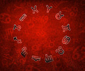 2013 Zodiac circle with zodiac signs on the red grunge backgroun — Stock Photo