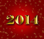 New Year 2014 with astrology signs on the red background — Stock Photo
