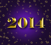 New Year 2014 with astrology signs — Stock Photo