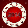 Stock Photo: 2014 Horoscope on red background