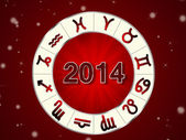 2014 Horoscope on the red background — Stock Photo